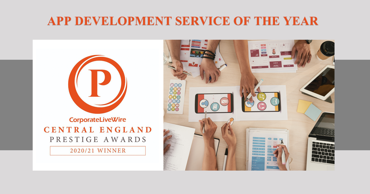 "<Huddersfield Apps> delighted to win the prestigious 2020 / 2021 ""App Development Service of the Year"" award!"